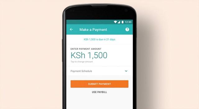 Tala app repayment screen