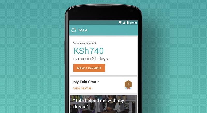 Tala App home screen