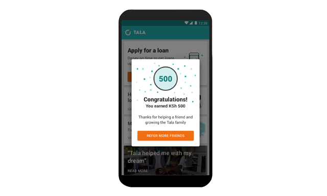 An image of a smartphone app that says congratulations